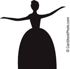 Vector Silhouette von Lady in Ballkleid. Vector Silhouette der tanzenden Braut.