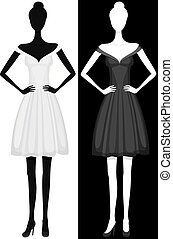 Vector Silhouette von Mädchen in schönem Kleid.