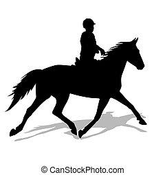 Vector Silhouette von Pferd und Jockey
