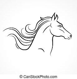 Vector Silhouette von Pferdekopf.