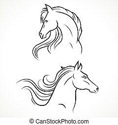 Vector Silhouette von Pferden