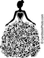 Vector Silhouette von schönem Kleid.