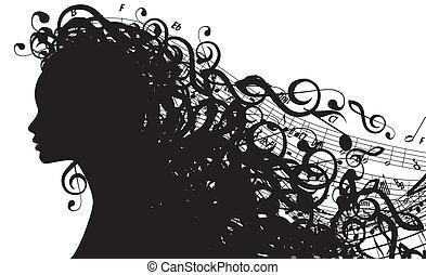 Vector Silhouette weiblicher Kopf mit musikalischen Symbolen
