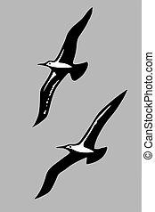 Vector Silhouetten der Seevögel.