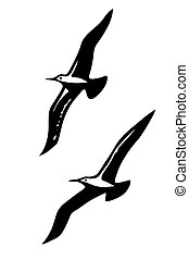 Vector Silhouettes der Seevögel