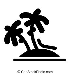 Vector Single Palm Baum Silhouette Icon isoliert