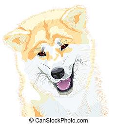 Vector Sketch akita inu japanesischer Hund lächelt