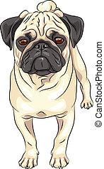 Vector Sketch süßer Hunde-Pummel