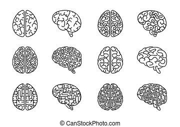 Vector skizziert menschliche Gehirn Ikonen