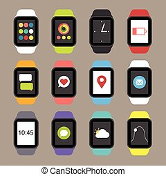 Vector smart watch icons.