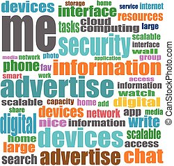 Vector Social media concept in word tag cloud on white background.