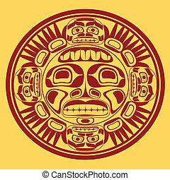 Vector-Sonnensymbol, Stylisierung der Nordwest-Kunst