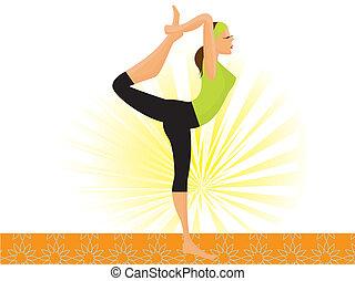 Vector sportliche Mädchen üben Natarajasana Lord der Tanz Pose.