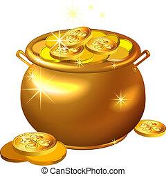 Vector St. Patrick's Day Gold Pott mit Münzen