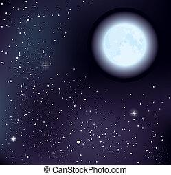 Vector Starry Himmel und Mond