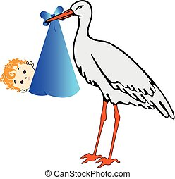 Vector Storch mit Babyboy.