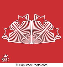 Vector stylisierte Design Element, celebrative Perspektive pentagonale Sterne Web Emblem. Union Idee %u2013 epst 8 3d heraldisches Objekt. Festes aristokratisches Symbol
