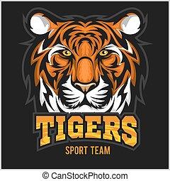 Vector Tiger Gesicht Sport Emblem.