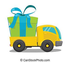 Vector Truck mit Geschenkkasten