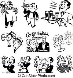 Vector Vintage-Bar und Trinkgrafiken