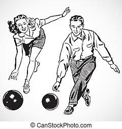 Vector Vintage Bowling Paar
