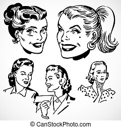 Vector Vintage-Frauen