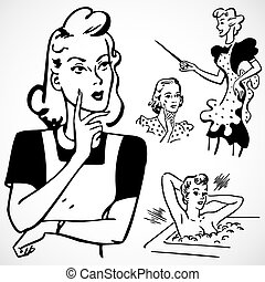 Vector Vintage-Frauen reden