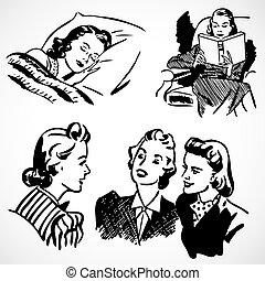 Vector Vintage-Frauen zu Hause