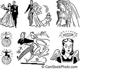 Vector Vintage Hochzeitsgrafiken
