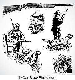 Vector Vintage Jagdgewehre und Grafiken