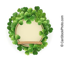 Vector Vintage Kreis mit Platz für Text in einem Rahmen von Shamrocks. Auf einem weißen Hintergrund (Element für Design) für den Urlaub sv.Patrika