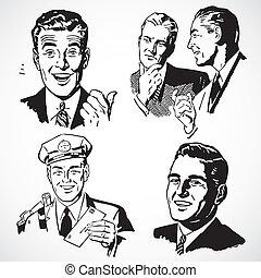 Vector Vintage-Männer reden und zeigen