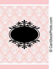 Vector Vintage, rosa und schwarzer Rahmen