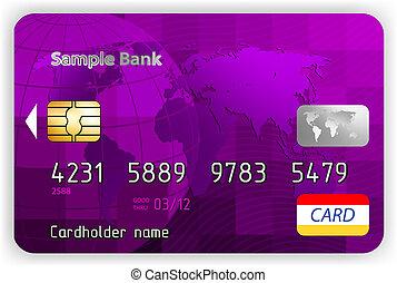 Vector Violet Kreditkarte, Frontsicht. EPS 8