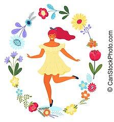 Vector Vorlage mit glücklicher Frau im Blumenkreis. Moderne farbige Vektorgrafik.