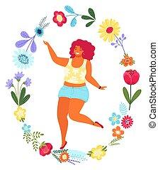 Vector Vorlage mit glücklicher Frau im Blumenkreis. Moderne farbige Vektorgrafik. Junges hübsches Mädchen, umgeben von Blumen, isoliert auf weißem Hintergrund.