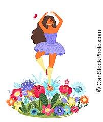 Vector Vorlage mit glücklicher Frau tanzen auf einer Blume. Moderne farbige Vektorgrafik.