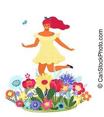 Vector Vorlage mit glücklicher Frau und Blumen. Moderne farbige Vektorgrafik.