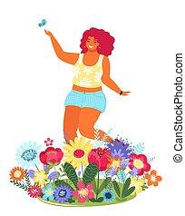 Vector Vorlage mit glücklicher Frau und Blumen. Moderne farbige Vektorgrafik. Junges hübsches Mädchen, umgeben von Blumen, isoliert auf weißem Hintergrund.