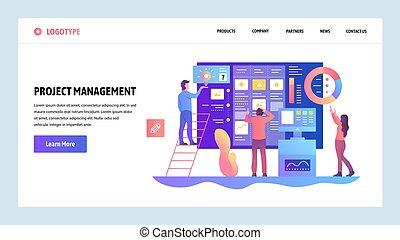 Vector Web site design template. Agile Projektmanagement und Business Teamwork. Landing Page Konzepte für Website und mobile Entwicklung. Moderne, flache Illustration.