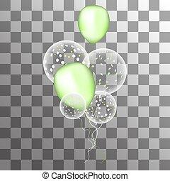 Vector weiße Ballons mit Konfetti auf einem transparenten Hintergrund