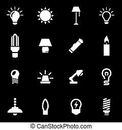 Vector White Light Icon Set.