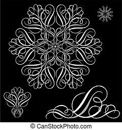 Vector White Ornament Set