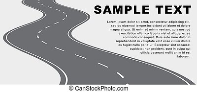 Vector winding road on a white background with copy-space for your text.