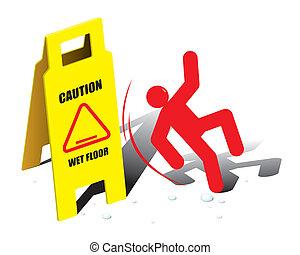 Vector-Zeichen, Vorsicht im nassen Boden