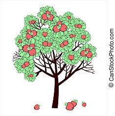 Vector Zeichnung von Apfelbaum mit Früchten.