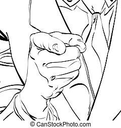 Vector zeigt auf Finger