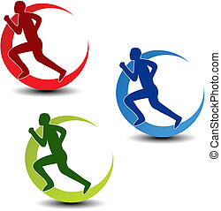 Vector zirkulierendes Symbol für Fitness - Läufersilhouette
