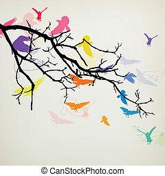 Vector Zweig mit Vögeln.
