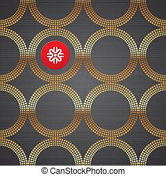 Vectors abstrakter Hintergrund mit goldenen luxuriösen runden Elementen auf einer dunklen metallischen Struktur